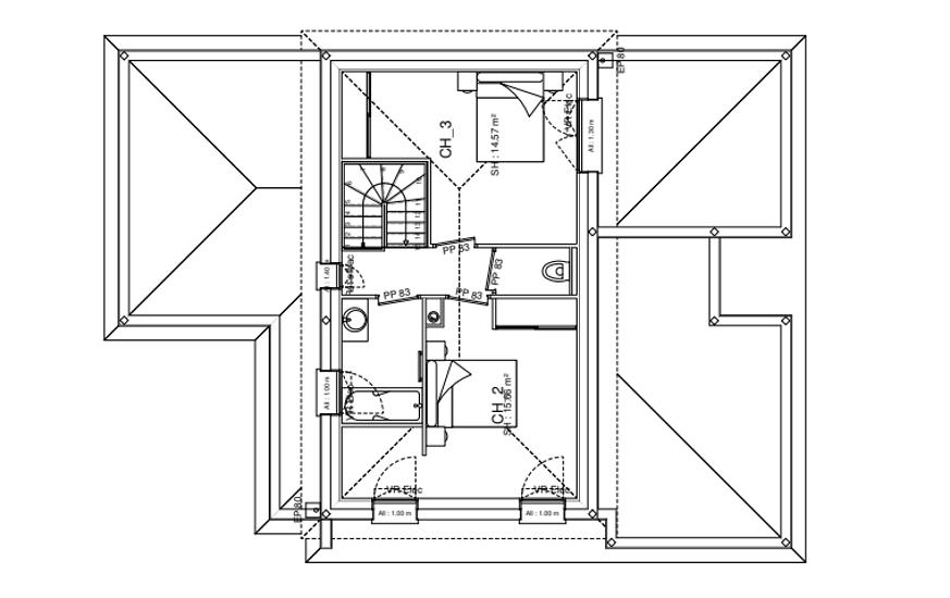 Maison contemporaine - toits 4 pans- 212 m²- Pléneuf Val André pr3