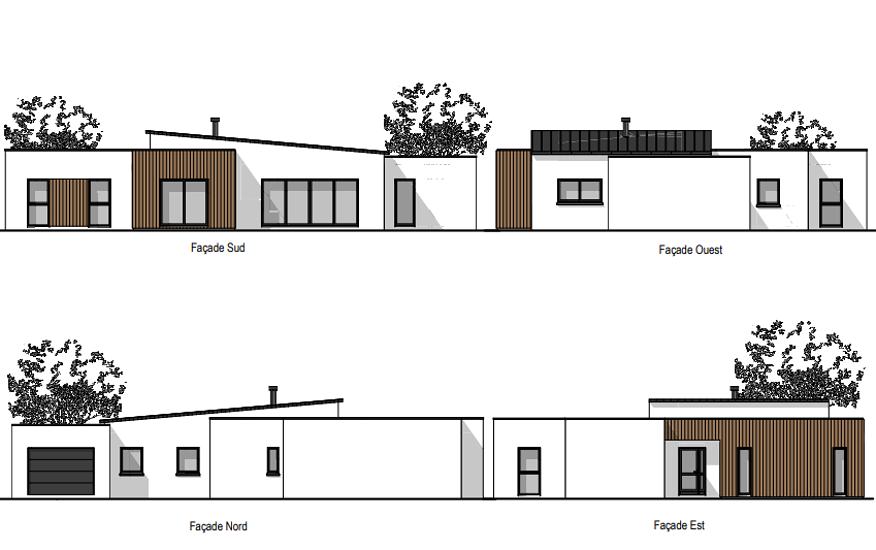 Maison plain-pied - modules contemporains -136 m²-CLEDEN POHER pr2