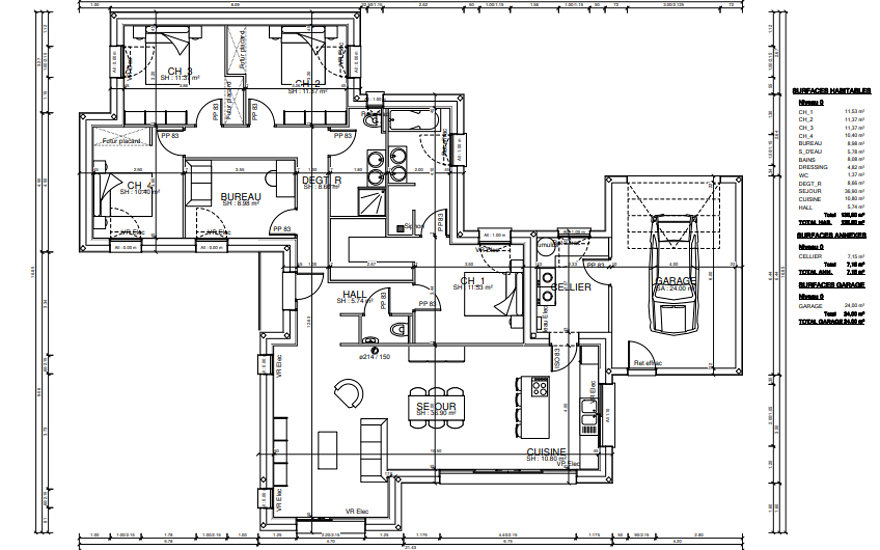 Maison plain-pied - modules contemporains -136 m²-CLEDEN POHER pr3