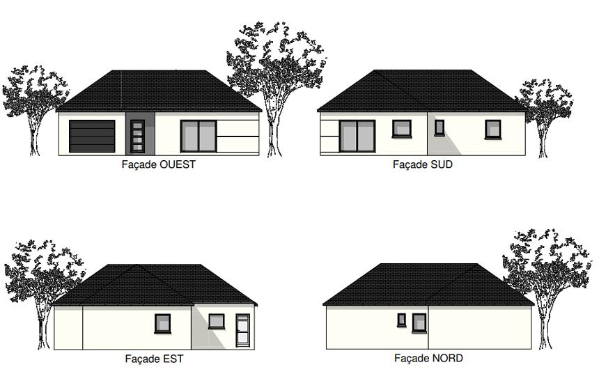 Maison plain-pied - toits 4 pans - 91 m² - Plouguenast pr2