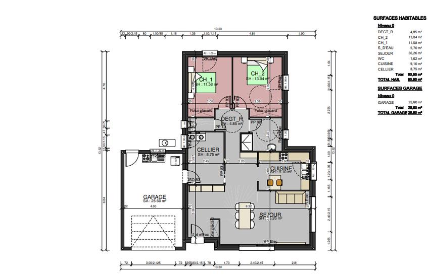 Maison plain-pied - toits 4 pans - 91 m² - Plouguenast pr3