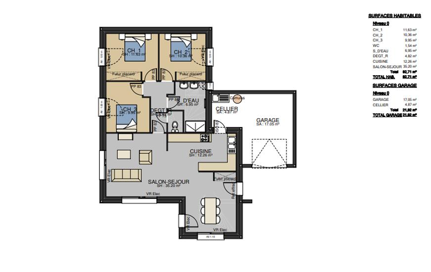 Maison plain-pied - toits zinc - 93 m² -PLOURHAN pr2