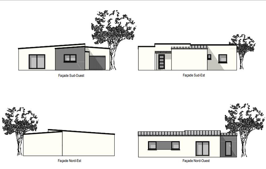 Maison plain-pied - toits zinc - 93 m² -PLOURHAN 0