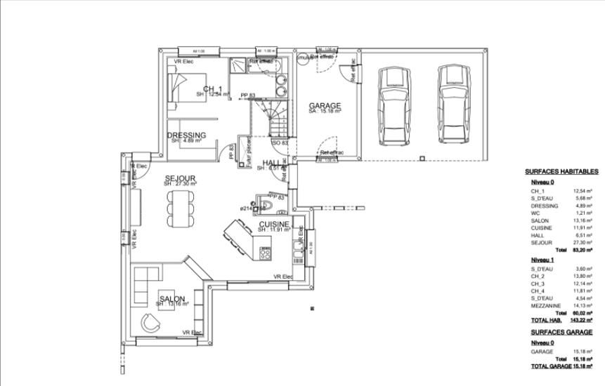 Maison contemporaine cubique - toits plats avec étage et décrochements- 143 m²- Binic pr2