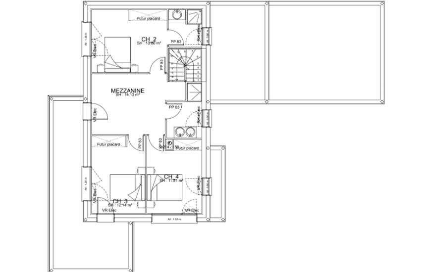 Maison contemporaine cubique - toits plats avec étage et décrochements- 143 m²- Binic pr3