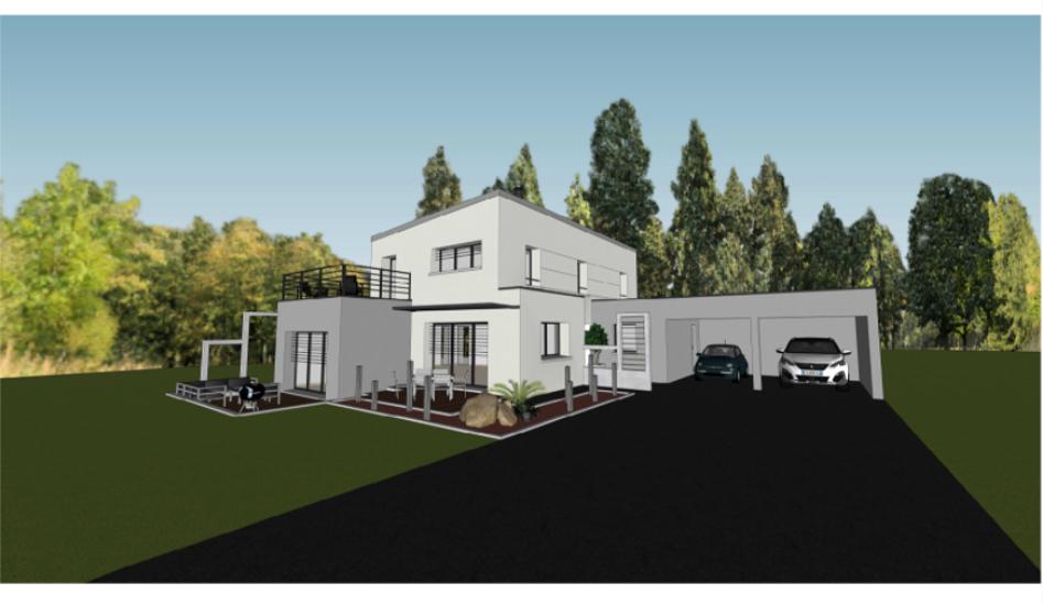 Maison contemporaine cubique - toits plats avec étage et décrochements- 143 m²- Binic 0
