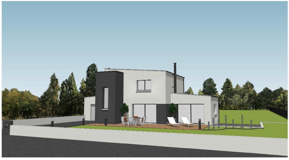 Maison contemporaine avec étage - toits plats et décrochements- 127 m² - Ploufragan plou2