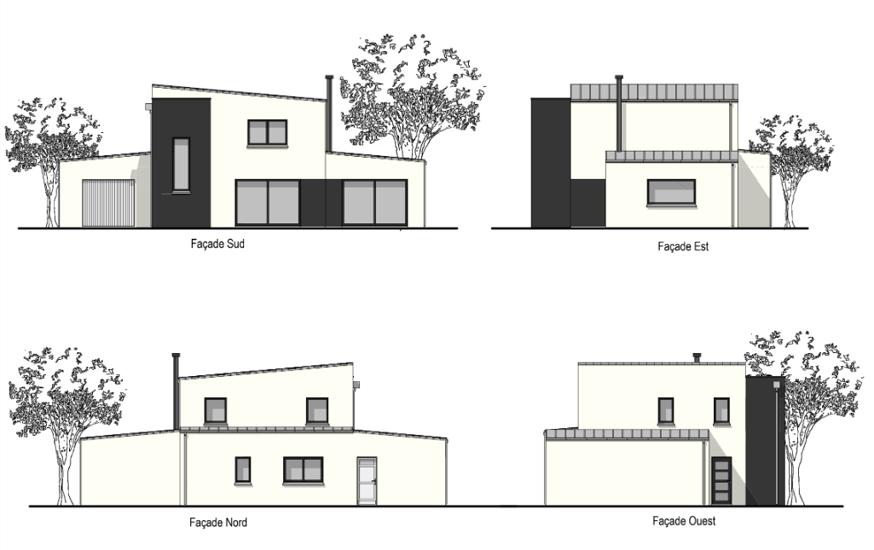 Maison contemporaine avec étage - toits plats et décrochements- 127 m² - Ploufragan plou3
