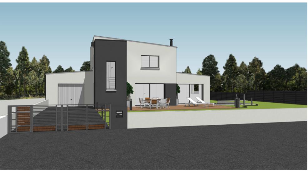 Maison contemporaine avec étage - toits plats et décrochements- 127 m² - Ploufragan 0