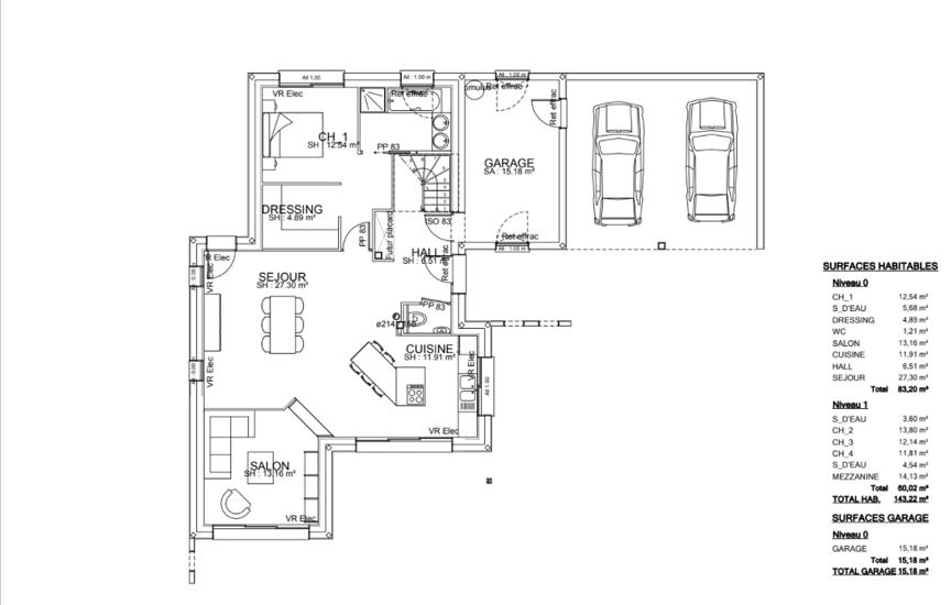 MAISON CONTEMPORAINE - TOITS PLATS - DECROCHEMENTS -DOUBLE GARAGE- 143.2 M²- Plérin ple2