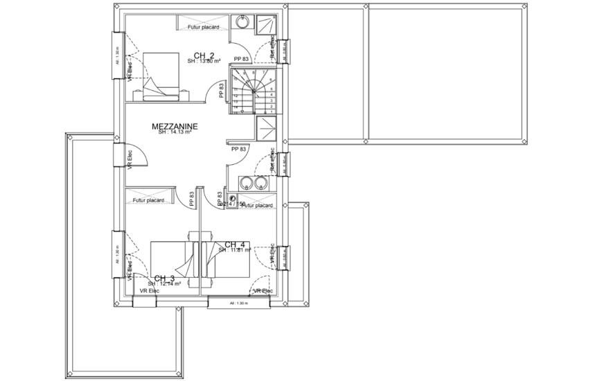 MAISON CONTEMPORAINE - TOITS PLATS - DECROCHEMENTS -DOUBLE GARAGE- 143.2 M²- Plérin ple3
