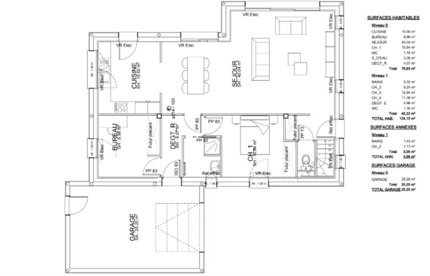 MAISON Traditionnelle - TOIT 2 pans avec étages - modules cubiques décrochements - 124 M²- Langueux lang2