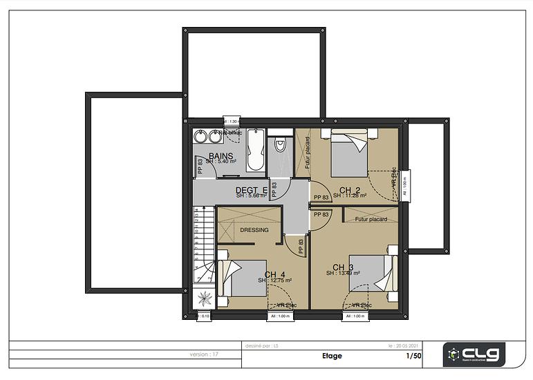 Plans maison 139 m² -4 chambres - Plédehel etage-139