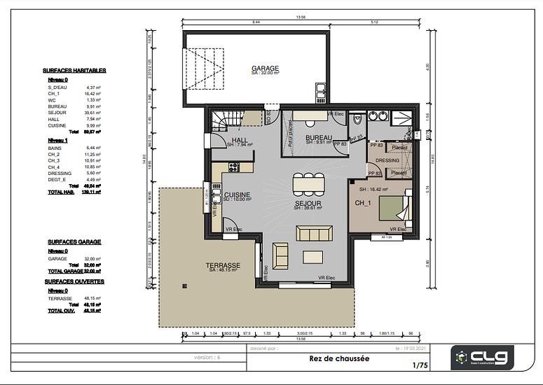 Plans maison 139 m² -4 chambres - Plédehel plhedel