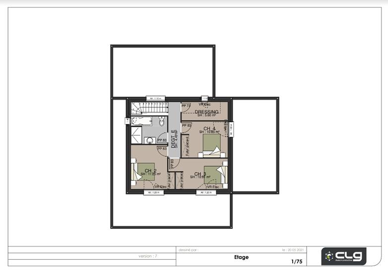 Plans projet maison 130 m²- 3 chambres- accessibilité PMR - Paimpol etgae-130