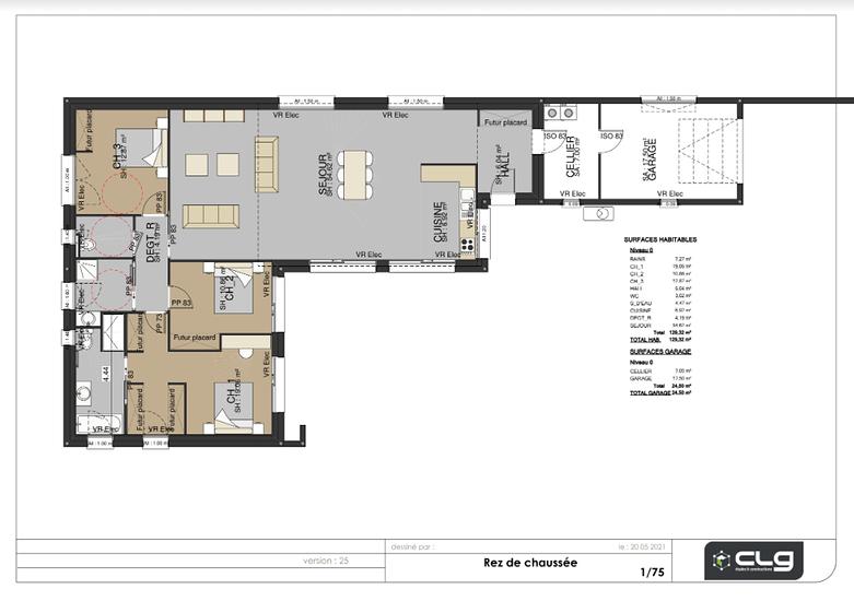 Plans projet maison 130 m²- 3 chambres- accessibilité PMR - Paimpol paimpol
